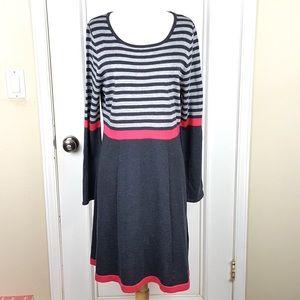 Eliza J | Gray Dark Pink Striped Knit Dress